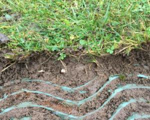 Her ses TDJ græsarmering, som en solid og støttende del af rodnettet.